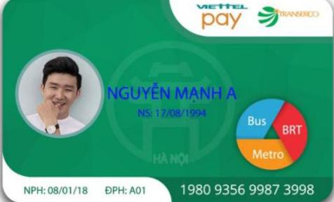 Mặt trước thẻ từ xe bus