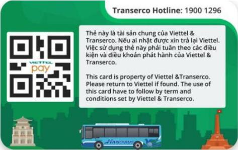 Mặt sau thẻ từ xe bus